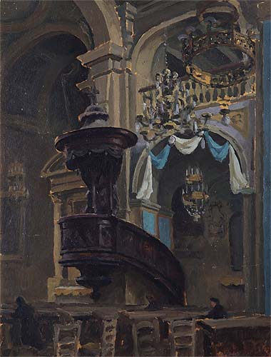 The Pulpit by Roger Fry, 1927, Oil on panel, 41cm x 31.5cm, Leamington Spa Art Gallery & Museum