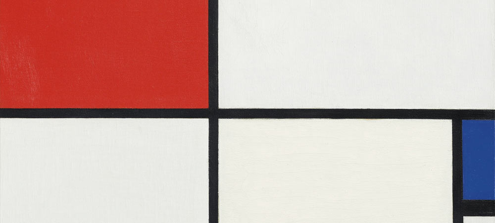 Composition No. III, with red, blue, yellow and black (1929), by Piet Mondrian (detail)
