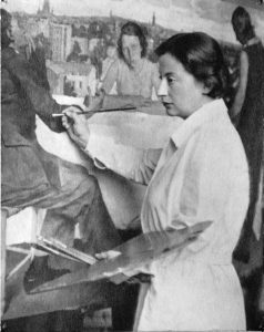 Lotte Laserstein painting 'Evening over Potsdam' in 1930