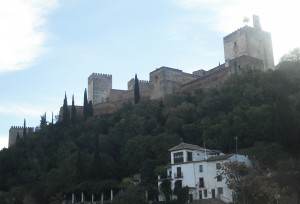 Our hotel view of the Alhambra, Granada, Spain