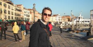 Christopher P Jones, writer and artist, in Venice